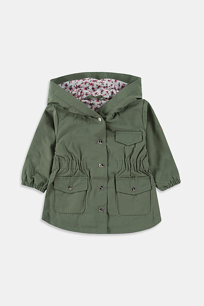 Lightweight parka with floral lining