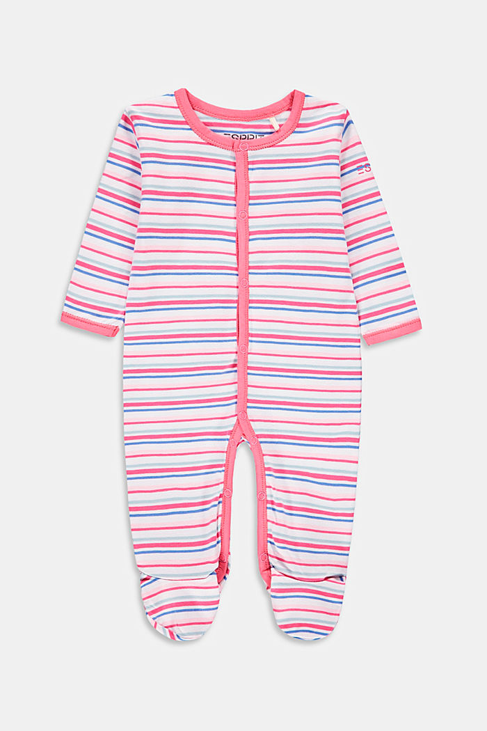 Striped romper suit with organic cotton, WHITE, overview