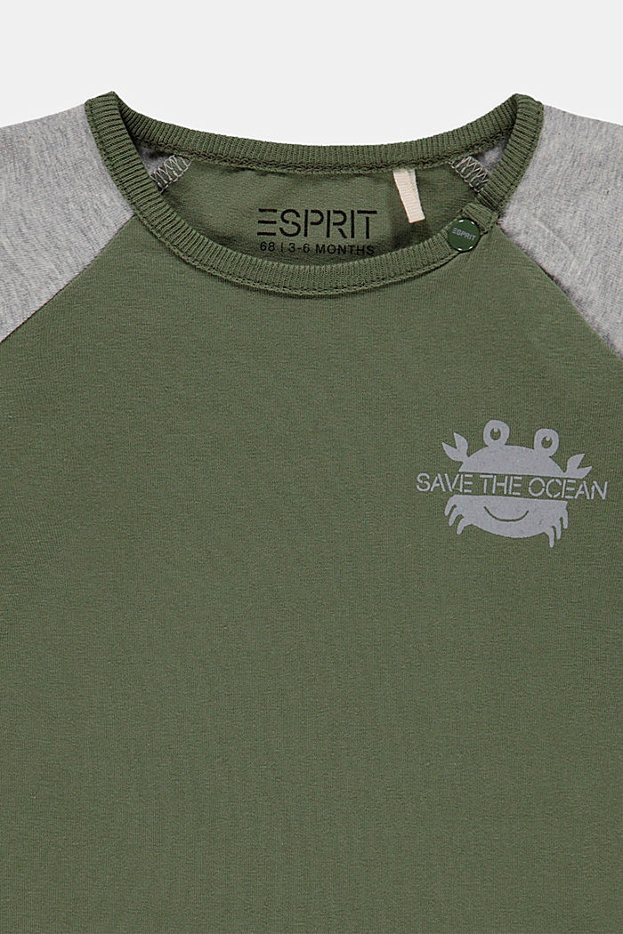 College style T-shirt containing organic cotton, DARK KHAKI, detail image number 2