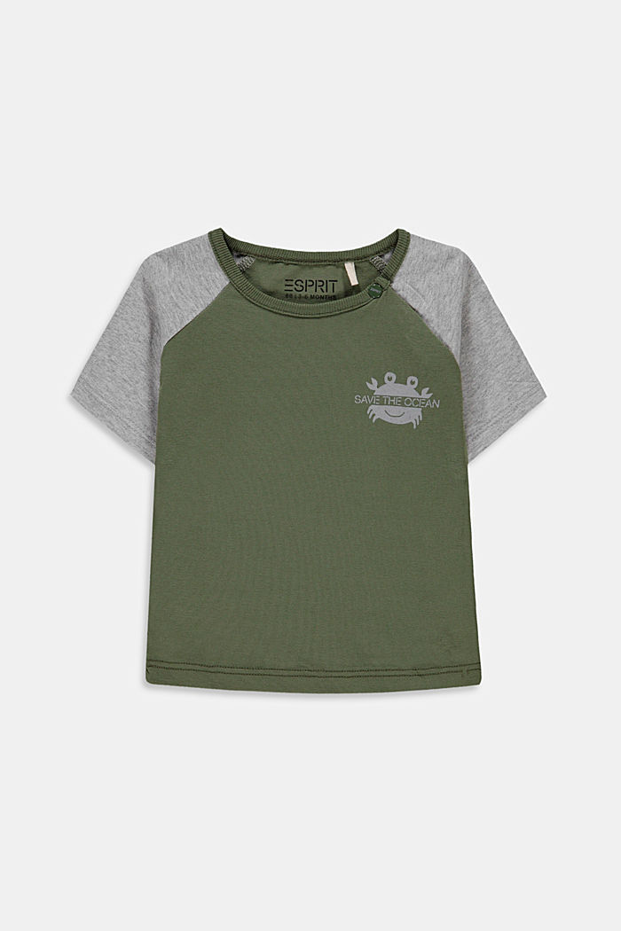 College style T-shirt containing organic cotton, DARK KHAKI, detail image number 0