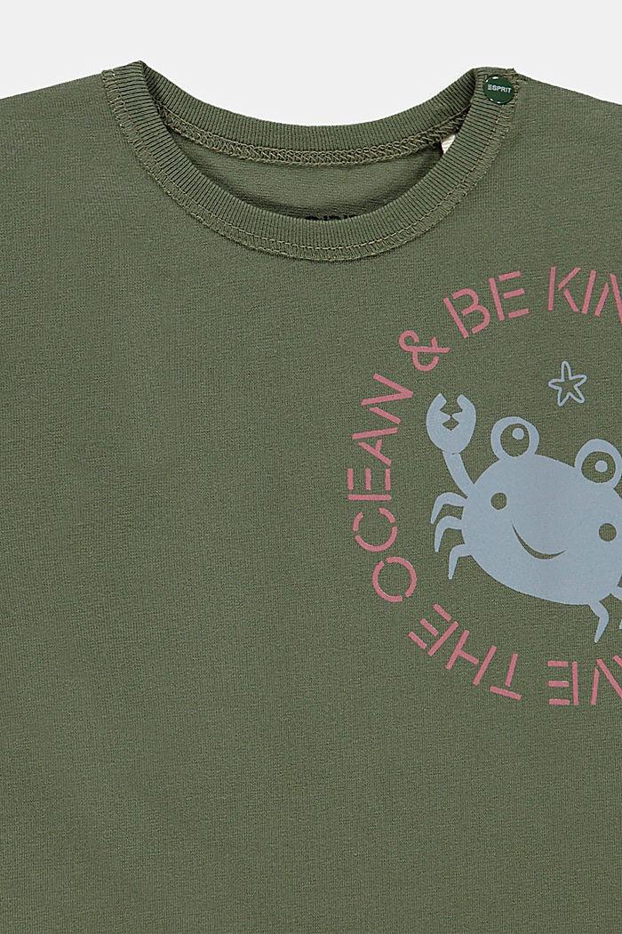 Print long sleeve top with organic cotton, DARK KHAKI, detail image number 2