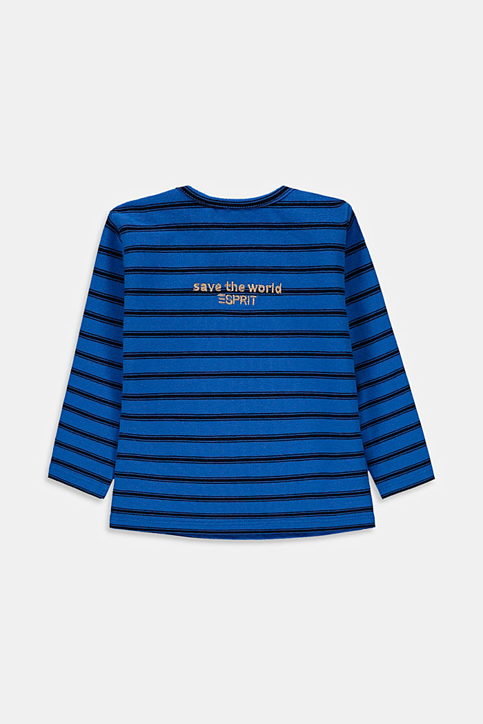 Embroidered, striped long sleeve top in organic cotton, BLUE, detail image number 1