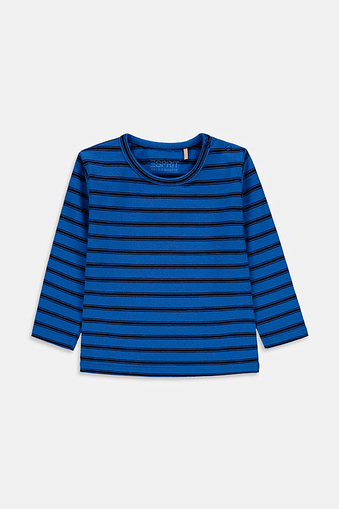 Embroidered, striped long sleeve top in organic cotton, BLUE, detail image number 0