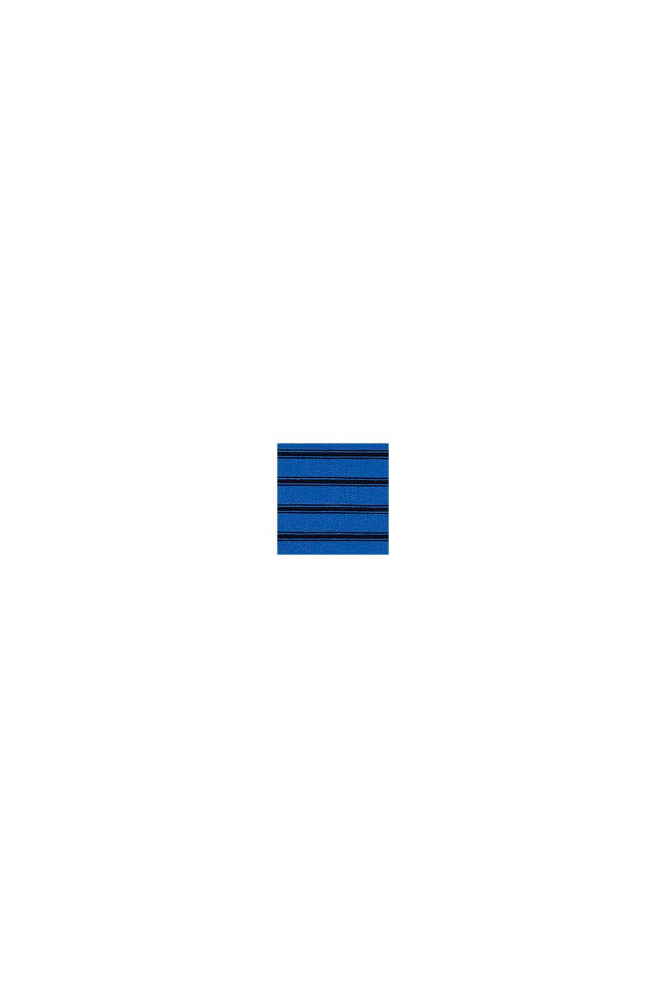 T-shirt à manches longues en coton biologique au look rayé brodé, BLUE, swatch