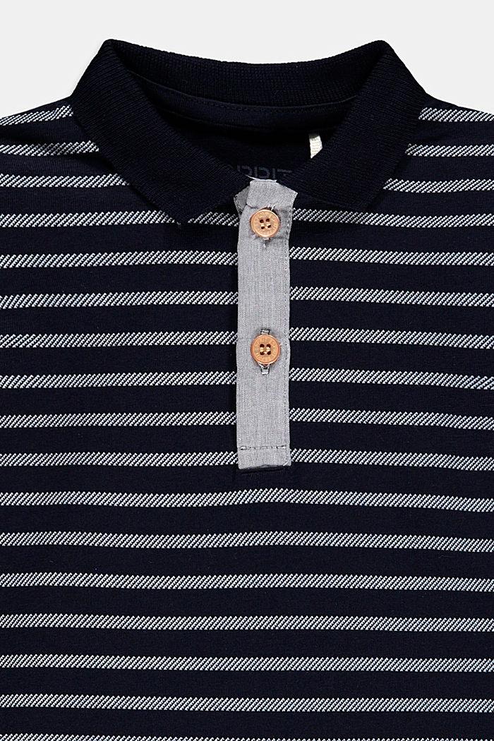 Jersey poloshirt van biologisch katoen/stretch, NAVY, detail image number 2