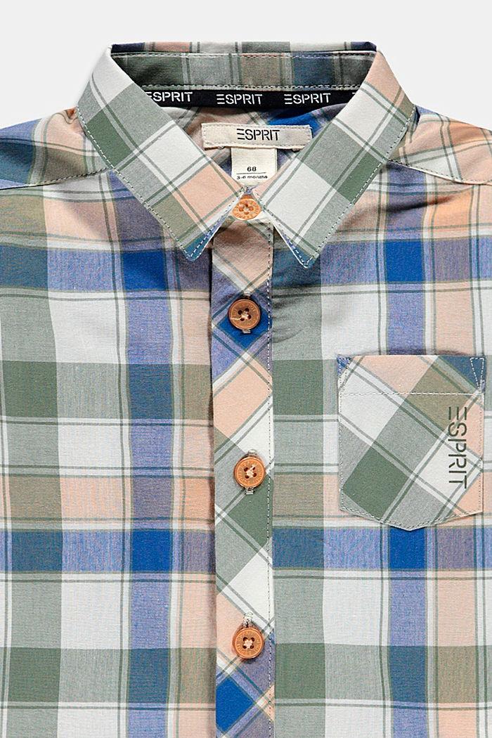 Geruit overhemd van 100% katoen, DARK KHAKI, detail image number 2