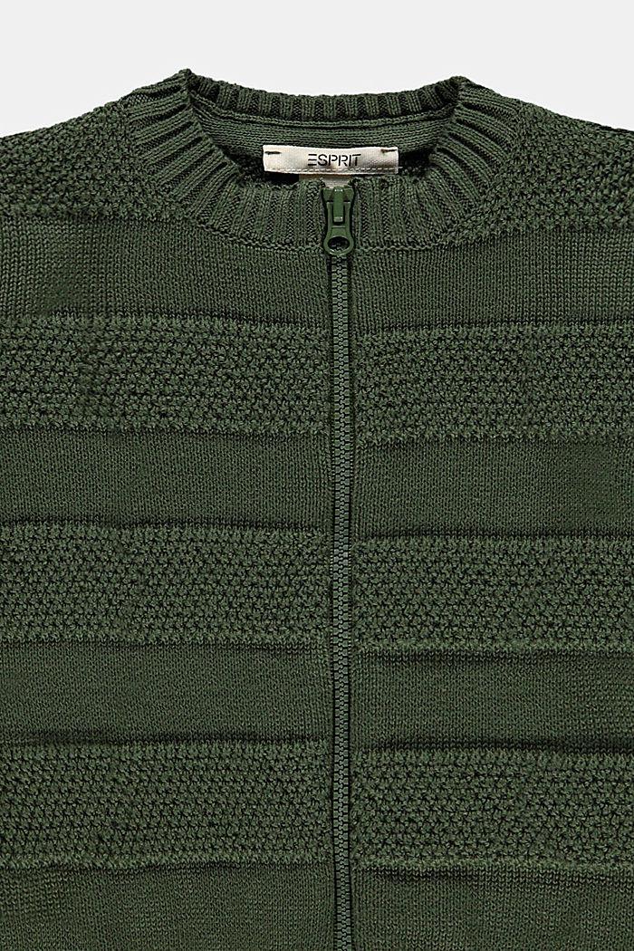 Vest met rits en strepenstructuur, DARK KHAKI, detail image number 2