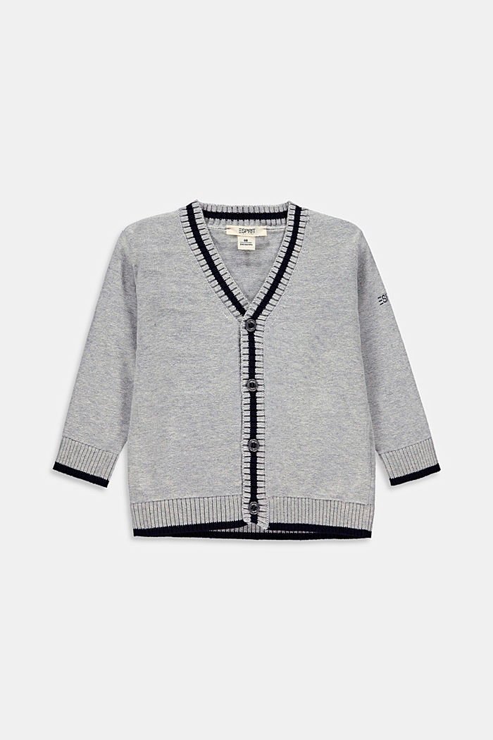 Cardigan made of 100% organic cotton, MEDIUM GREY, overview