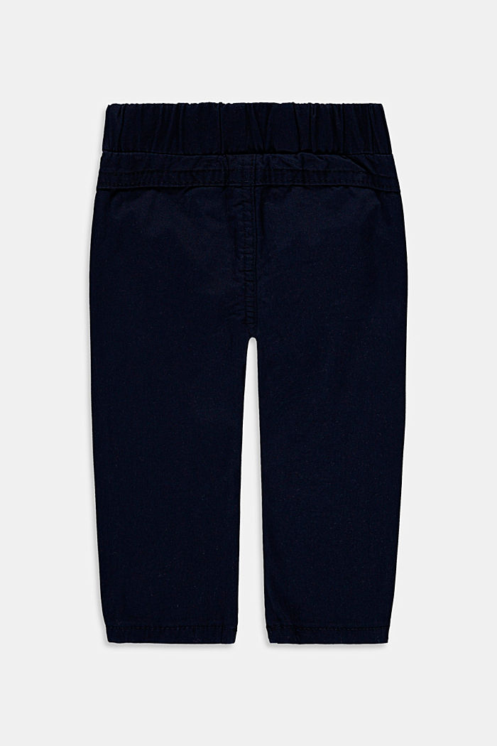 Stretch cotton trousers with an elasticated waistband, NAVY, detail image number 1