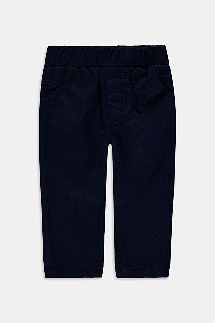 Stretch cotton trousers with an elasticated waistband, NAVY, detail image number 0