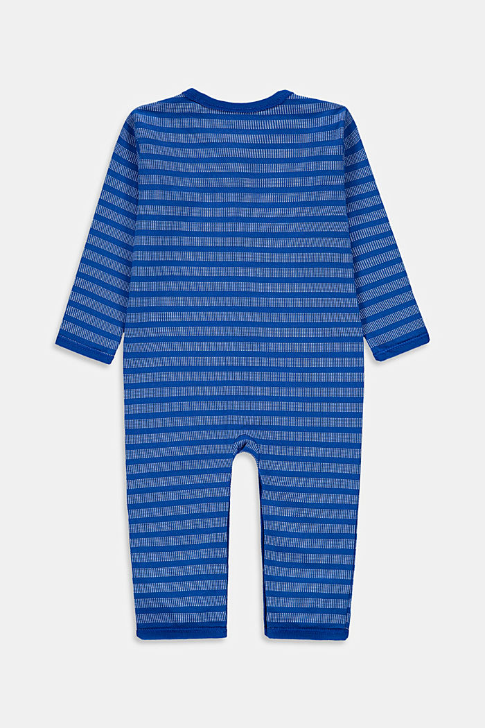 Striped romper suit made of organic stretch cotton, TURQUOISE, detail image number 1