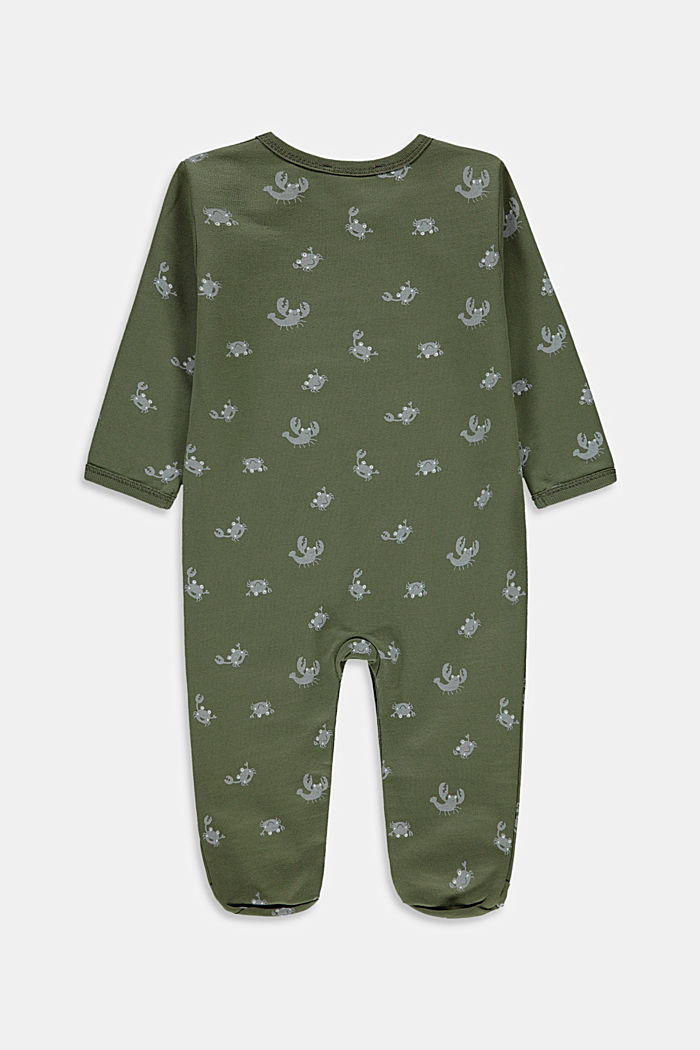 Crab print romper suit, 100% organic cotton, DARK KHAKI, detail image number 1