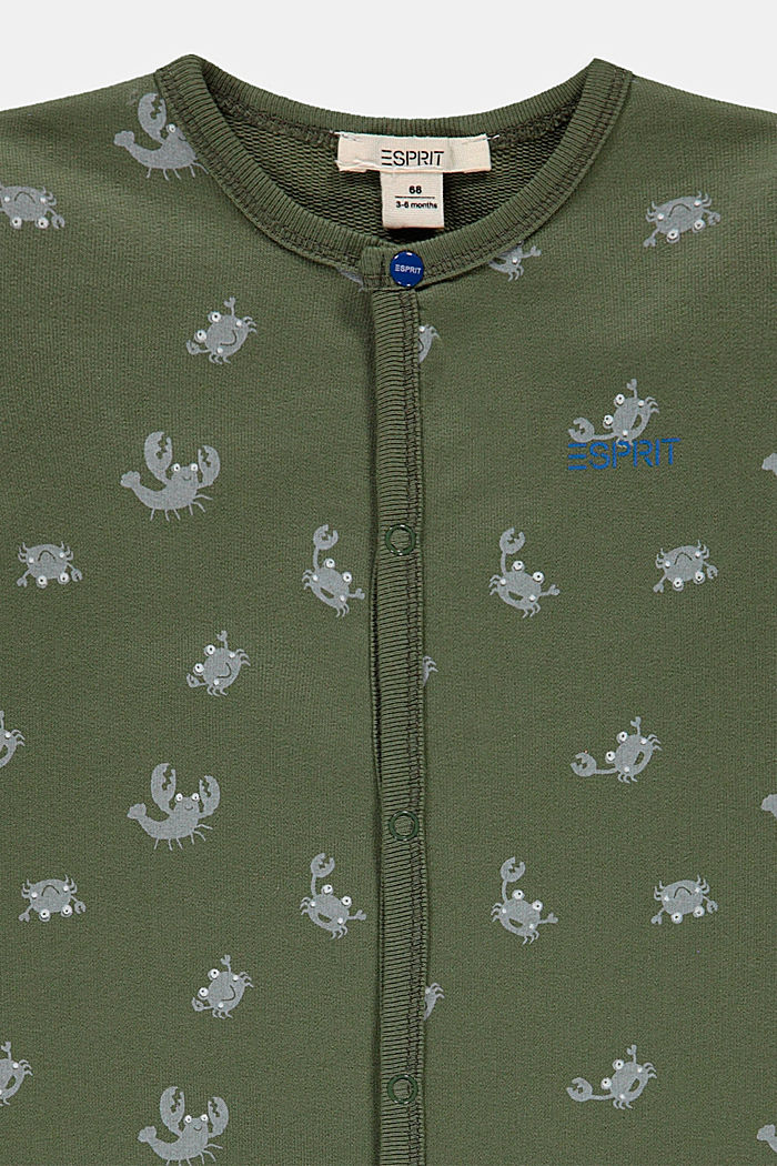 Crab print romper suit, 100% organic cotton, DARK KHAKI, detail image number 2