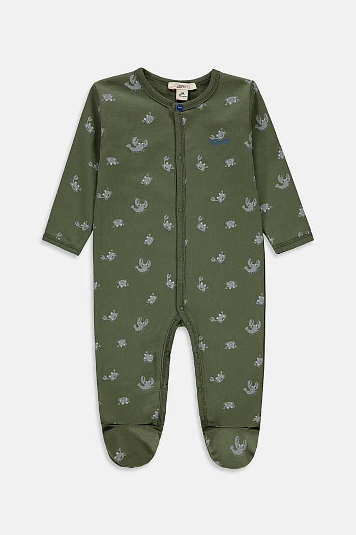 Crab print romper suit, 100% organic cotton, DARK KHAKI, detail image number 0