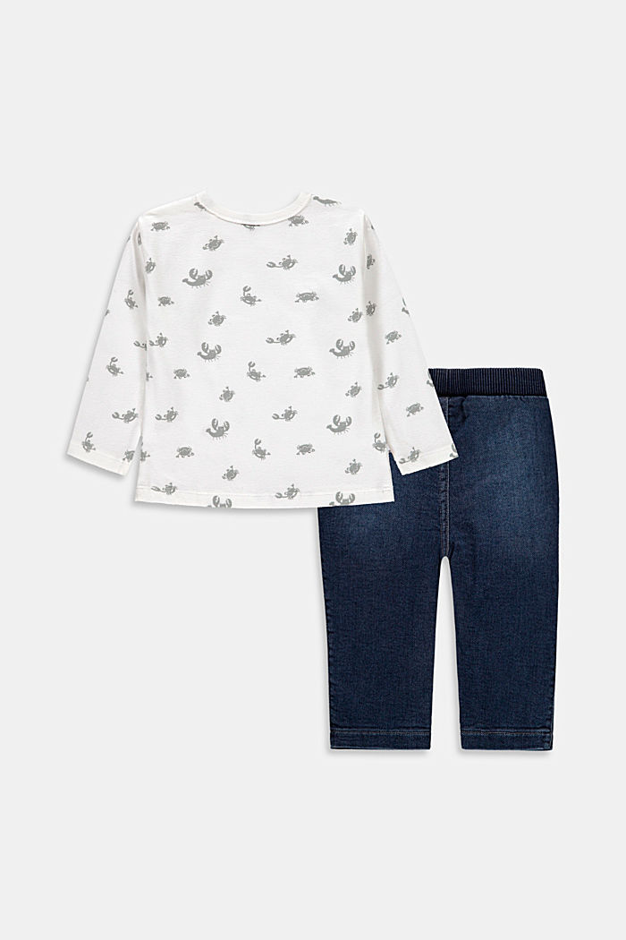 Set: Print top and sweatshirt trousers