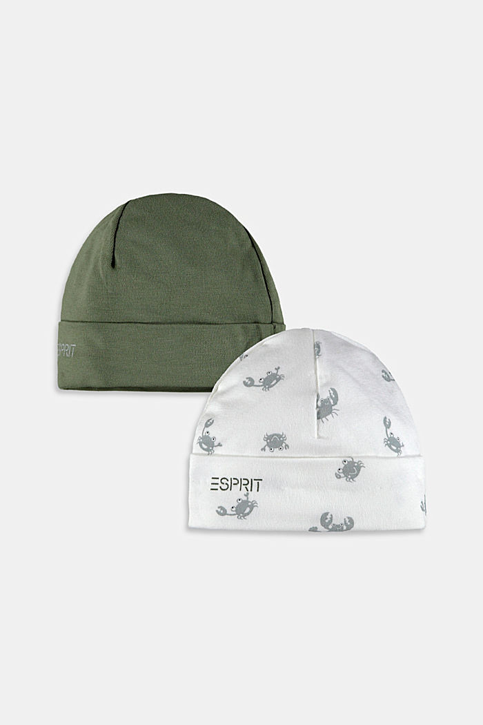 Double pack of jersey baby bonnets, DARK KHAKI, detail image number 2