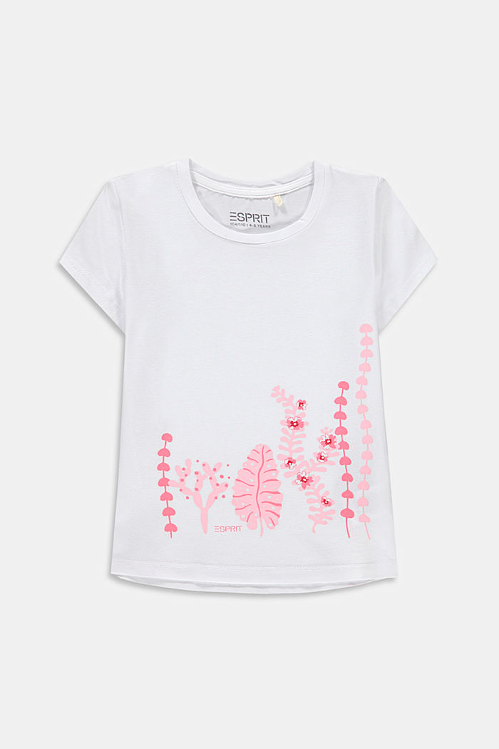 Printed T-shirt in stretch cotton, WHITE, detail image number 0
