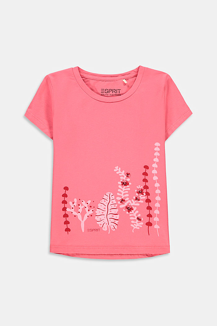 Printed T-shirt in stretch cotton, CORAL, detail image number 0