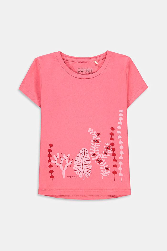 Print-T-Shirt aus Baumwoll-Stretch, CORAL, detail image number 0