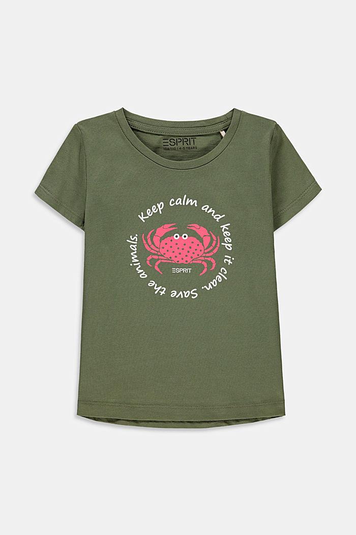 Print-T-Shirt aus Baumwoll-Stretch, LIGHT KHAKI, detail image number 0