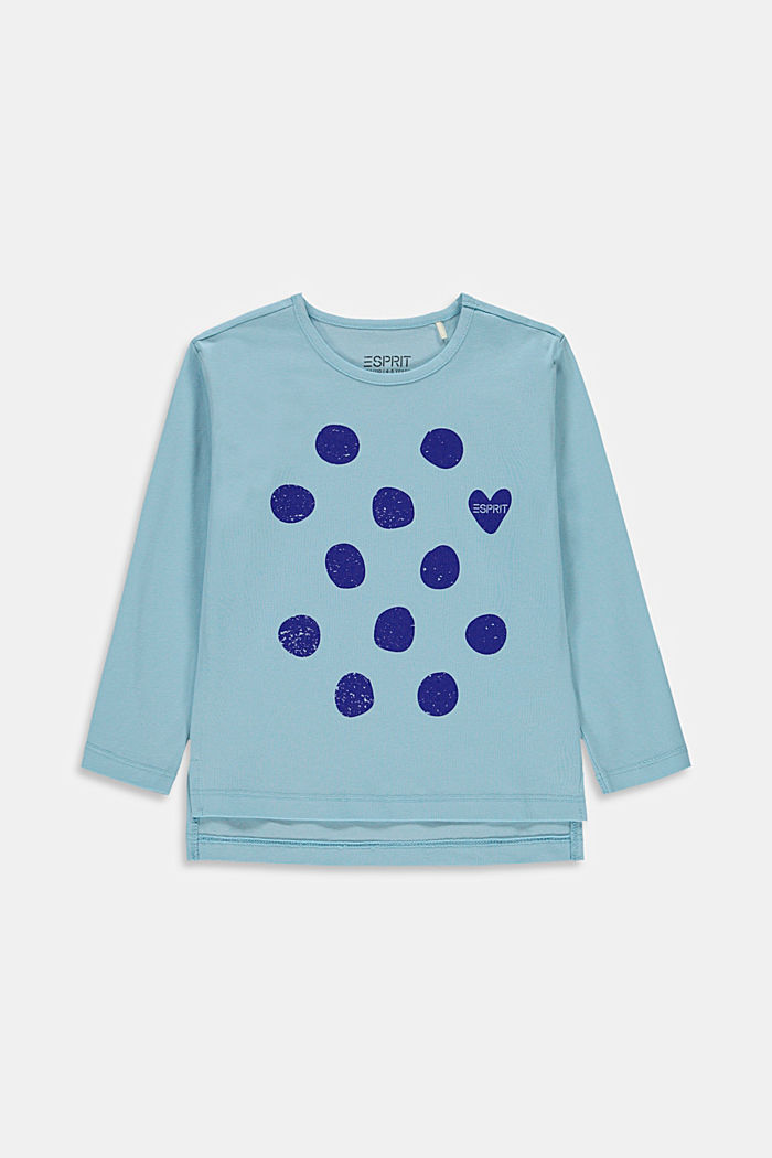 Printed long sleeve top made of stretch cotton
