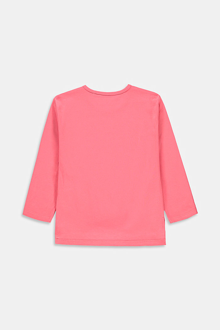 Printed long sleeve top made of stretch cotton, CORAL, detail image number 1