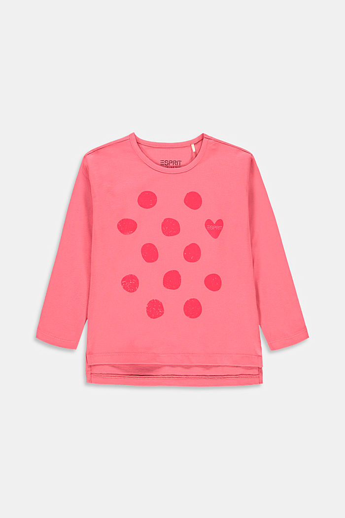 Printed long sleeve top made of stretch cotton, CORAL, overview
