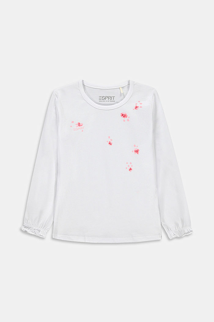 Long sleeve top with a floral print, WHITE, detail image number 0