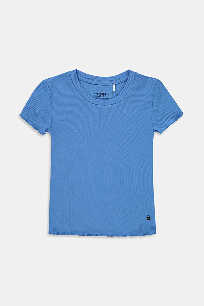Ribbed T-shirt with hem frills, 100% cotton