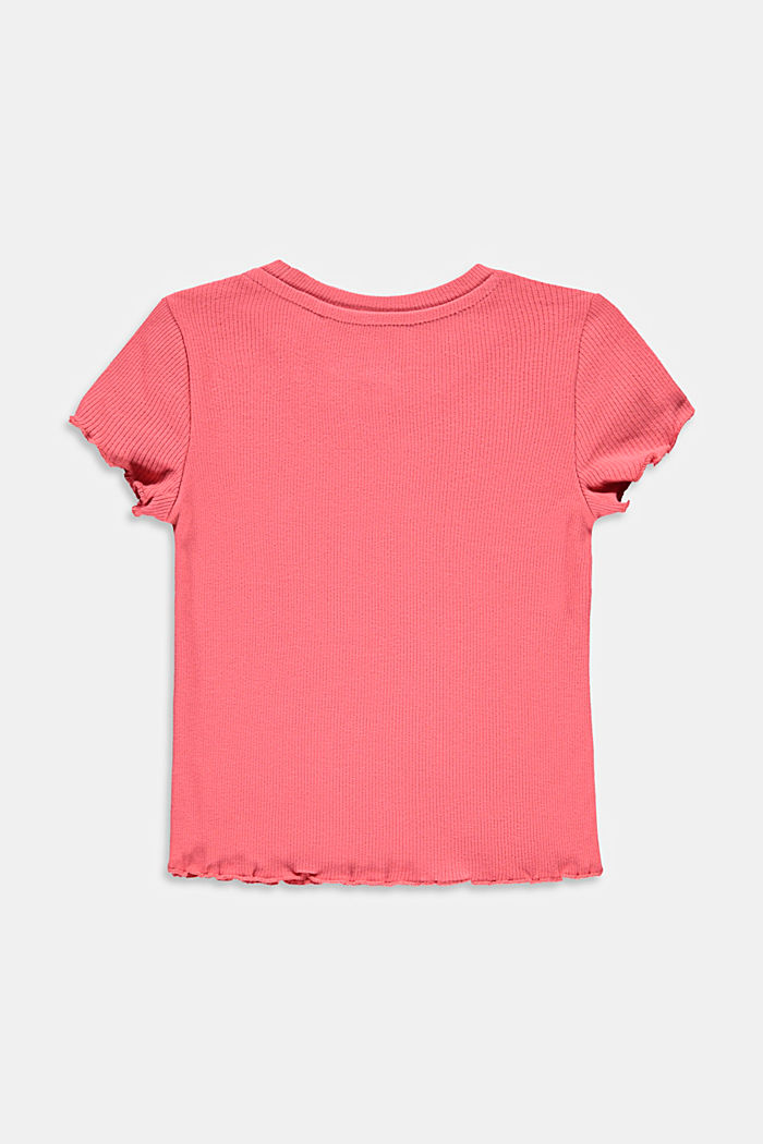 Ribbed T-shirt with hem frills, 100% cotton, CORAL, detail image number 1
