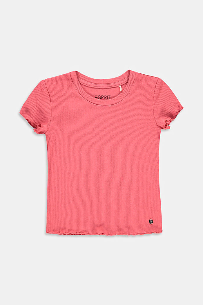 Ribbed T-shirt with hem frills, 100% cotton, CORAL, detail image number 0