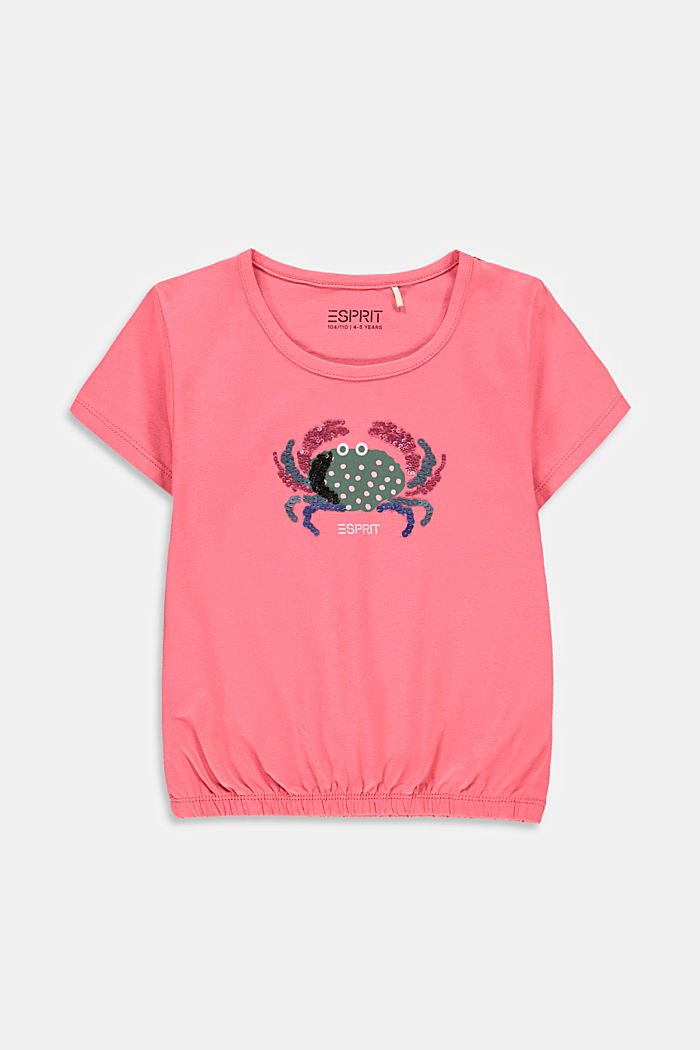 Printed T-shirt with sequins, CORAL, detail image number 0