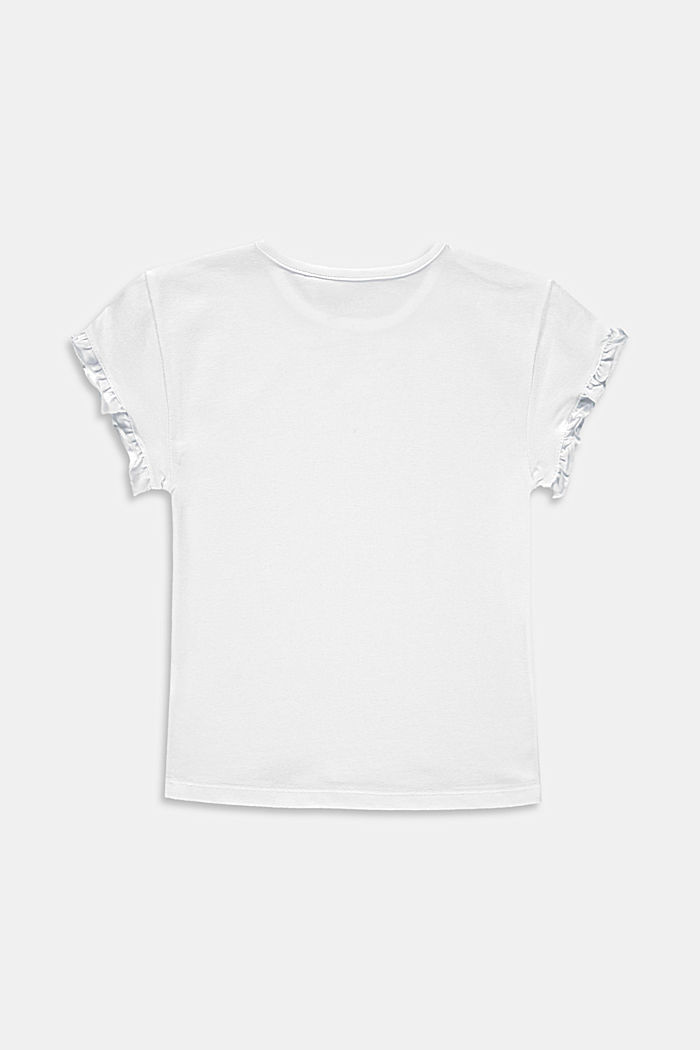 T-shirt with a glitter print and frills, WHITE, detail image number 1