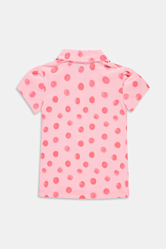 Jersey polo shirt with a mille-fleurs print, BLUSH, detail image number 1