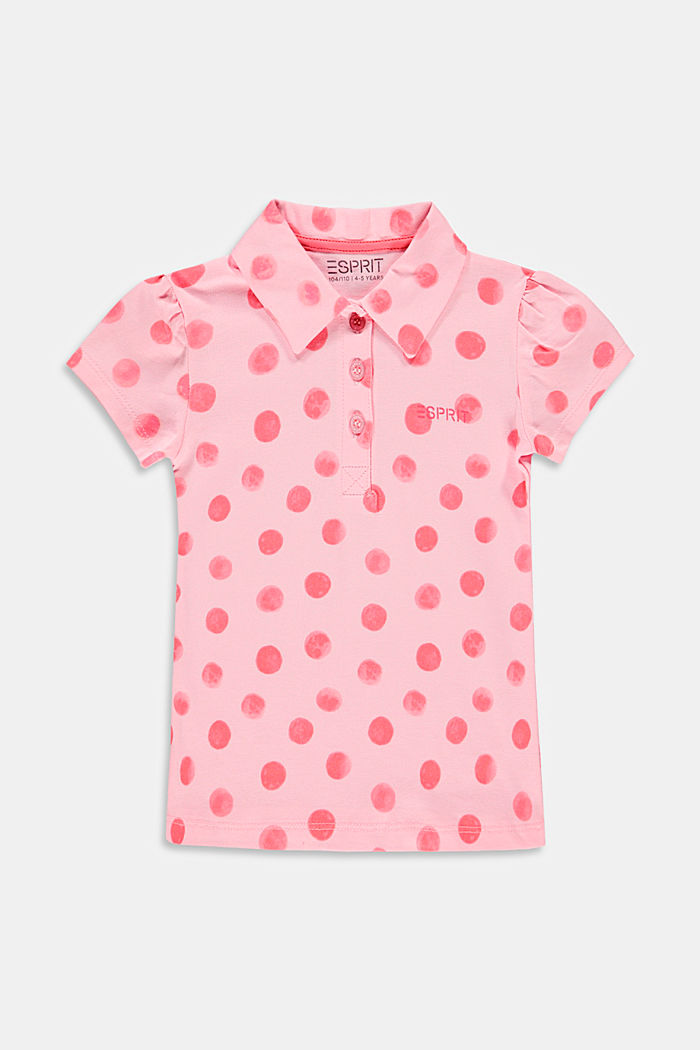 Jersey polo shirt with a mille-fleurs print, BLUSH, detail image number 0