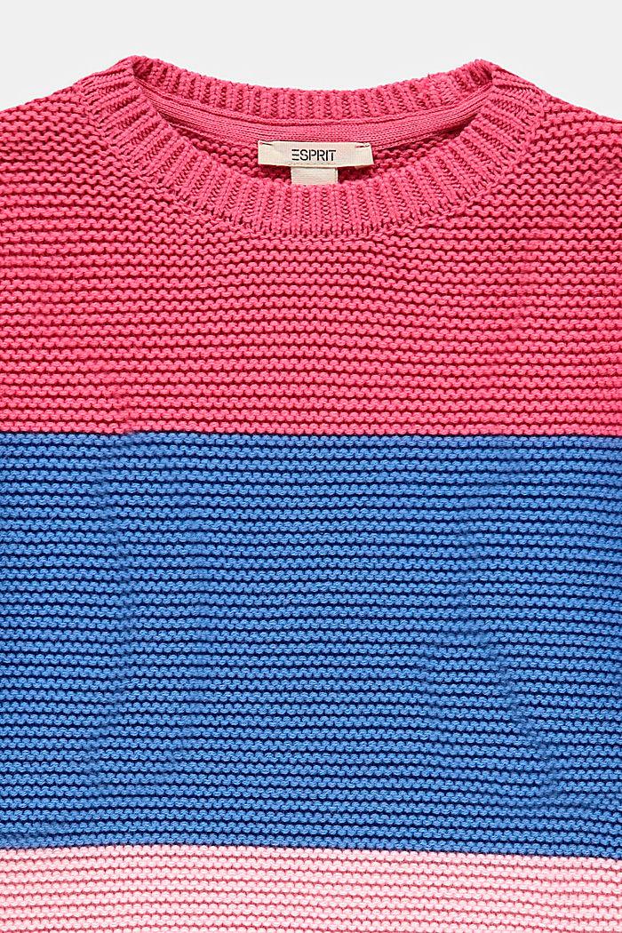 Trui van 100% katoen met colour block, CORAL, detail image number 2