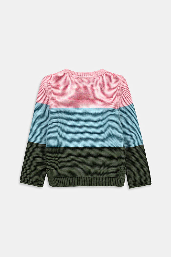 Pull-over d´aspect colour blocking, 100% coton, BLUSH, detail image number 1