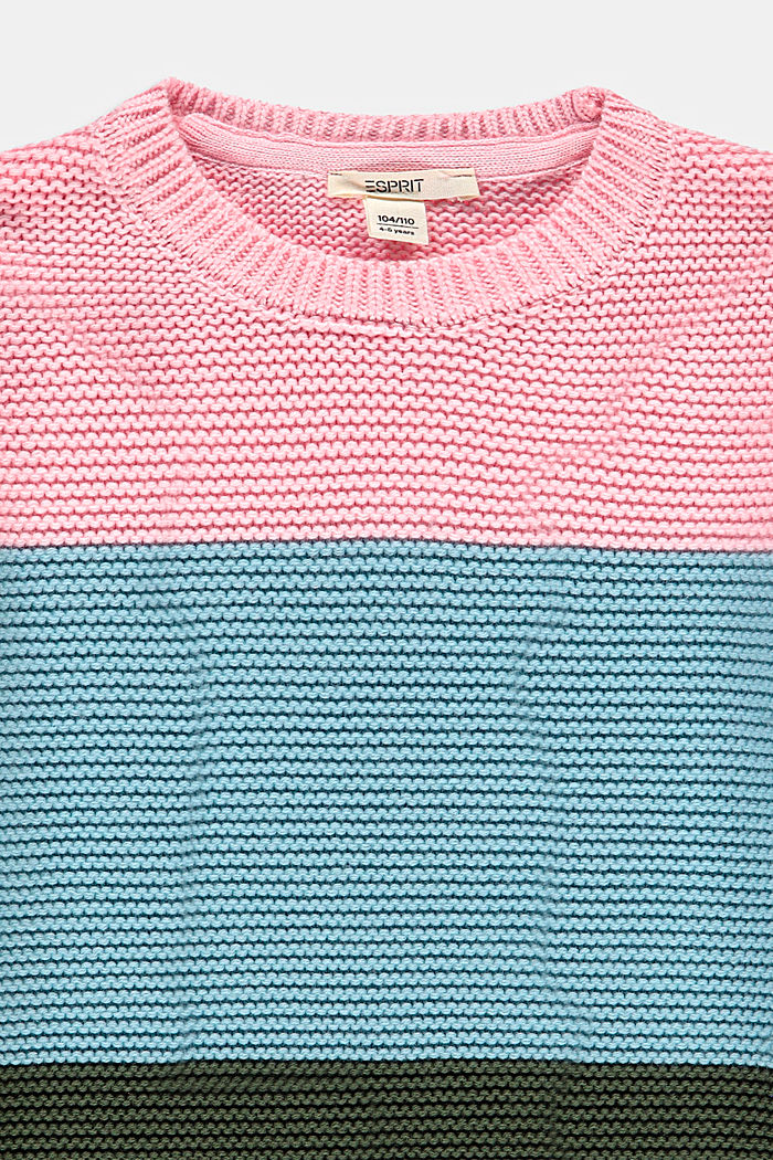 Pull-over d´aspect colour blocking, 100% coton, BLUSH, detail image number 2