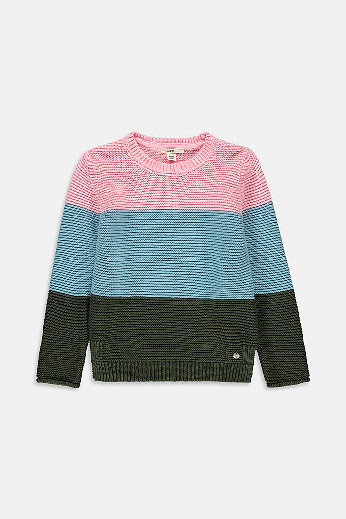 Pull-over d´aspect colour blocking, 100% coton, BLUSH, detail image number 0