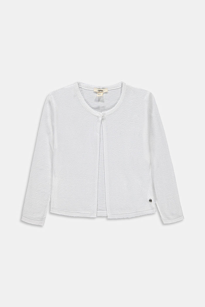 Basic cardigan in 100% cotton, WHITE, overview