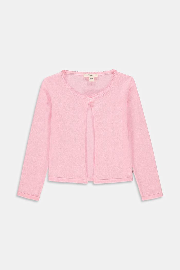 Basic cardigan in 100% cotton, BLUSH, detail image number 0