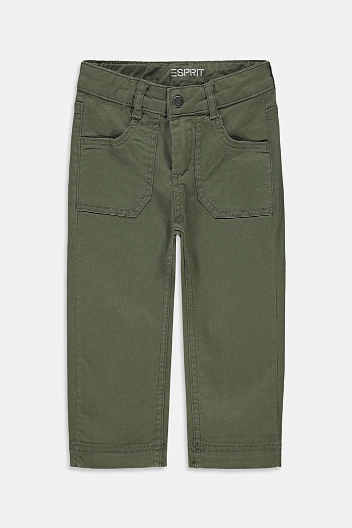 Wijde, enkellange broek met verstelbare band, DARK KHAKI, detail image number 0