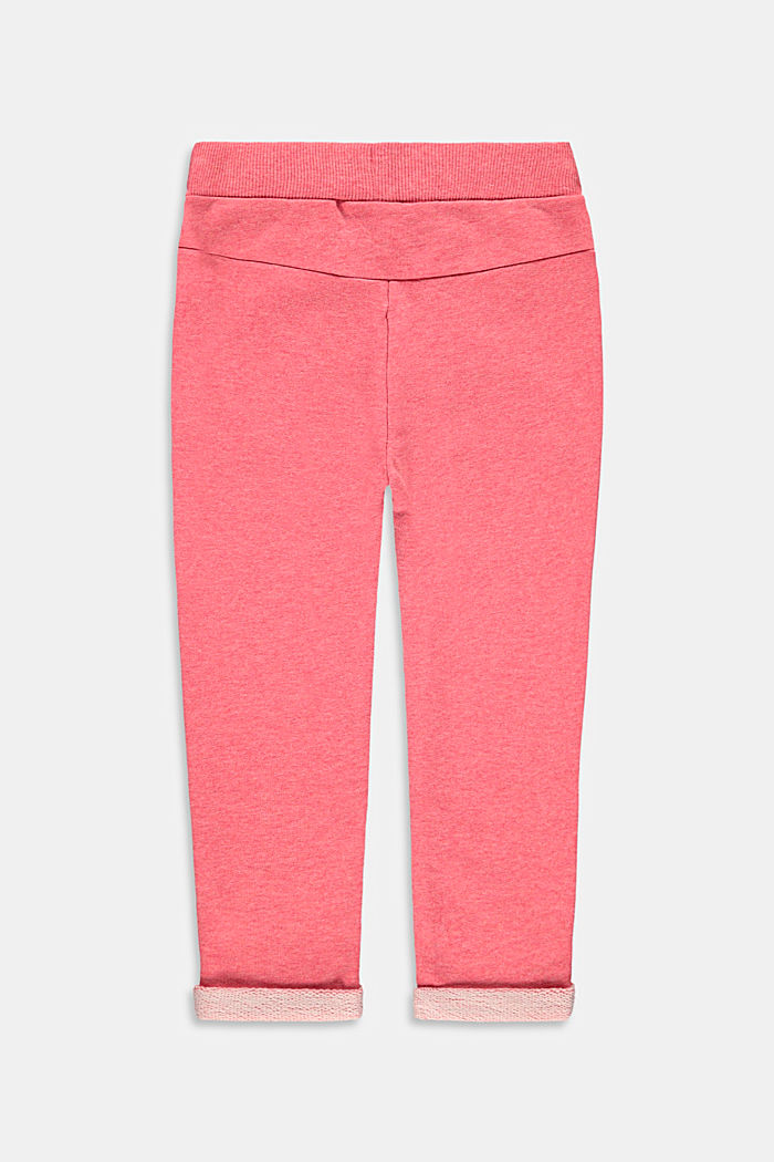 Tracksuit bottoms made of 100% cotton, CORAL, detail image number 1