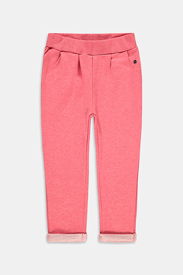 Tracksuit bottoms made of 100% cotton, CORAL, detail image number 0