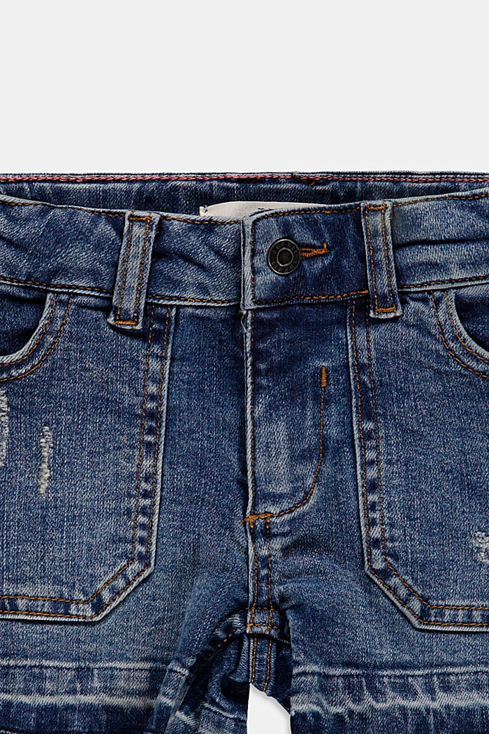 Cotton denim shorts with an adjustable waistband, BLUE MEDIUM WASHED, detail image number 2