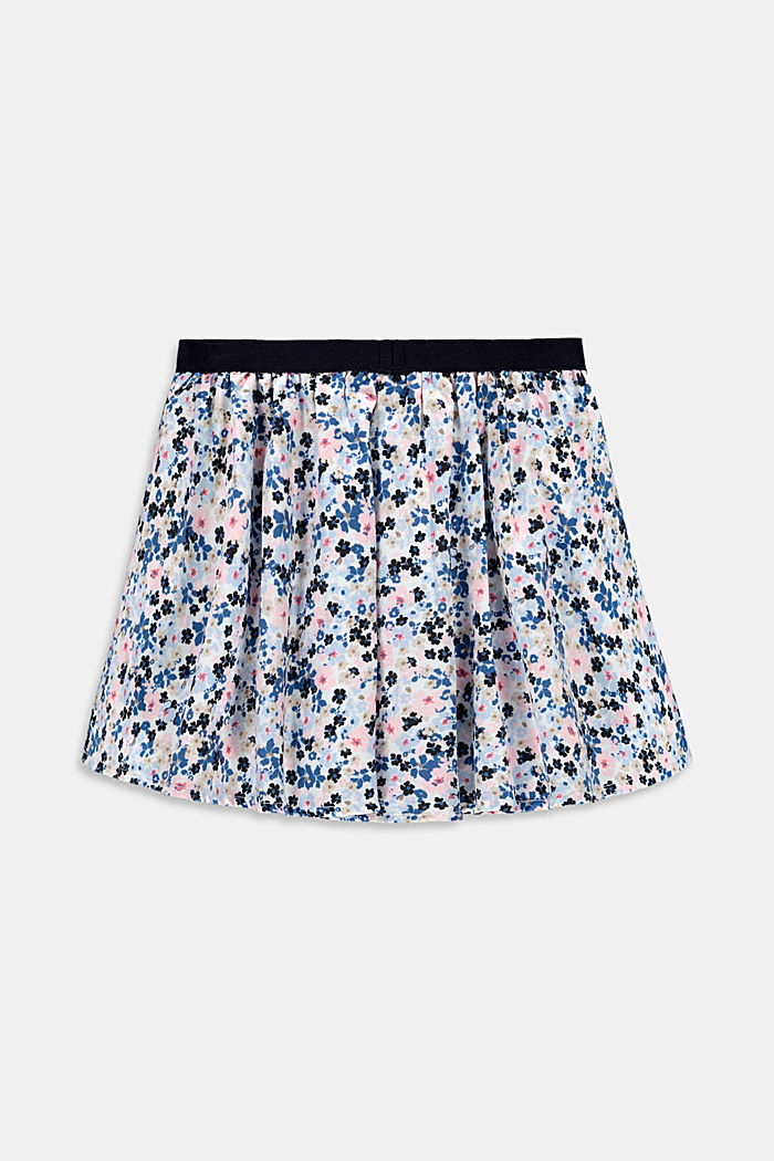 Floral print circle skirt made of woven fabric, WHITE, detail image number 2