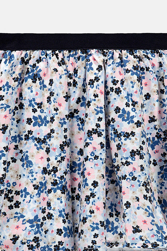 Floral print circle skirt made of woven fabric, WHITE, detail image number 1