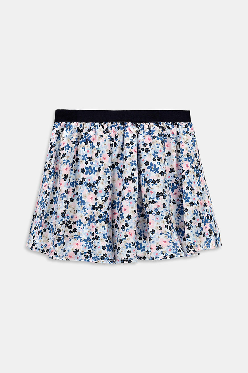 Floral print circle skirt made of woven fabric
