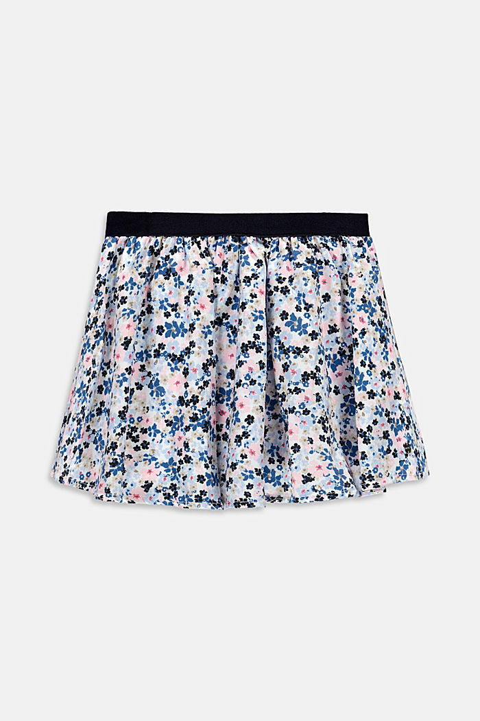 Floral print circle skirt made of woven fabric, WHITE, detail image number 0