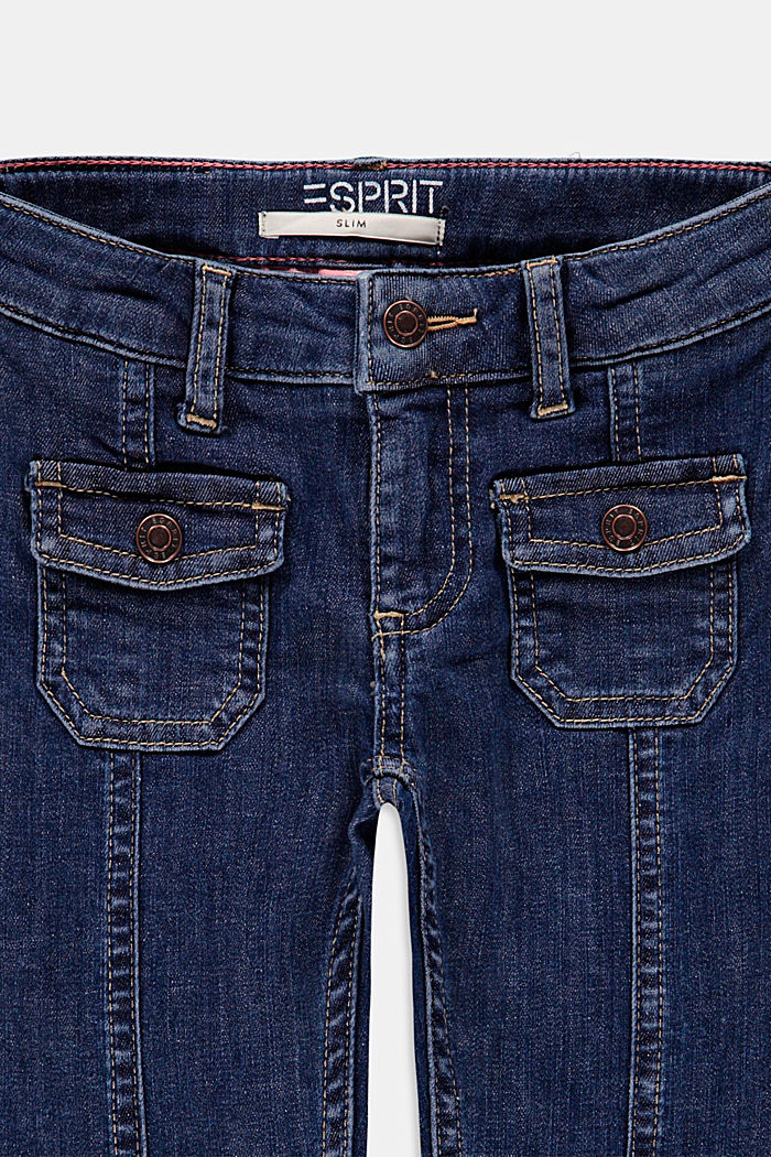 Jeans with patch pockets, adjustable waistband, BLUE DARK WASHED, detail image number 2